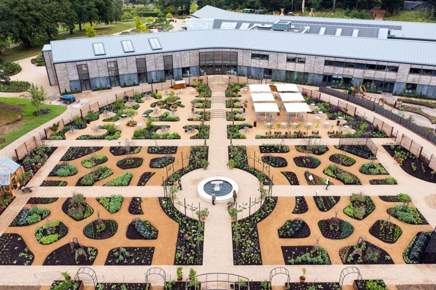 The World Food Garden, a vast garden area, consists of several different plots with walkways between them.