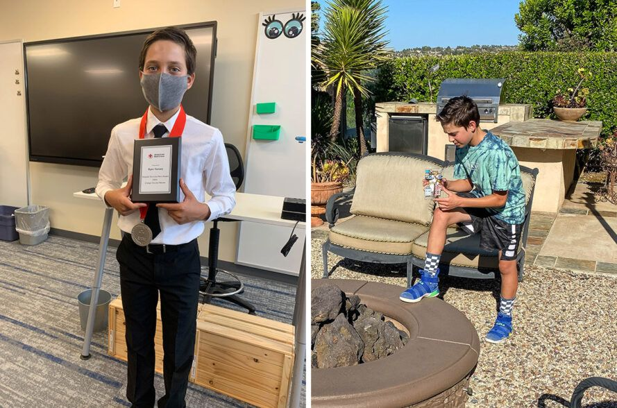 On the left, Ryan Honary received an award from the Red Cross. On the right, Honary tests early wildfire detection tools on a fire pit.