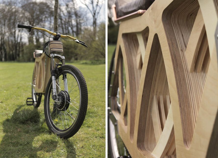 To the left, a wooden e-bike on a grassy lawn. To the right, a close-up of the wooden design.