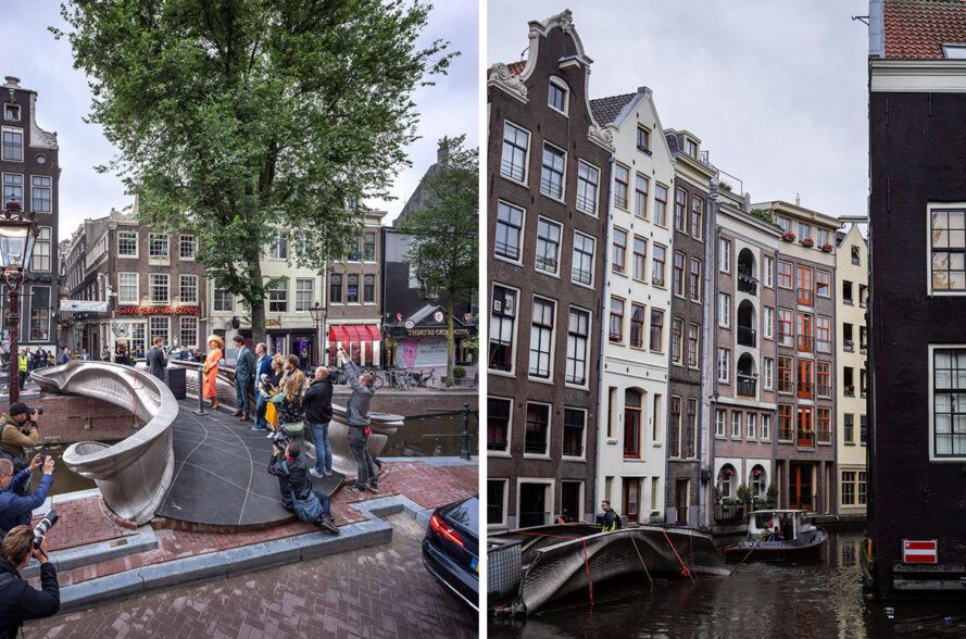 people moving 3d-printed bridge pieces down a canal