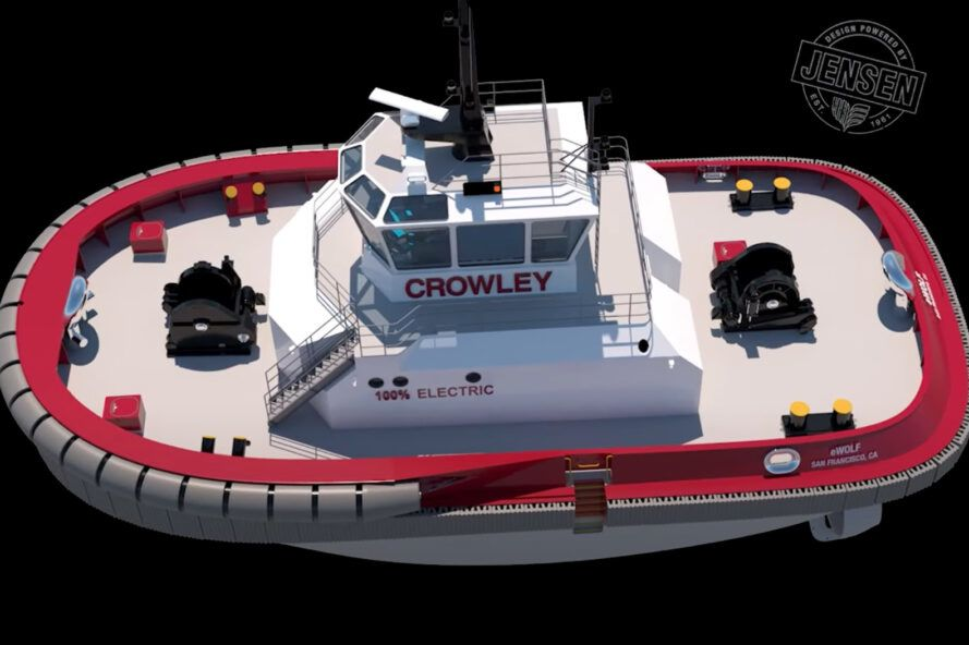 An overhead rendering of the eWolf tugboat in gray and red.