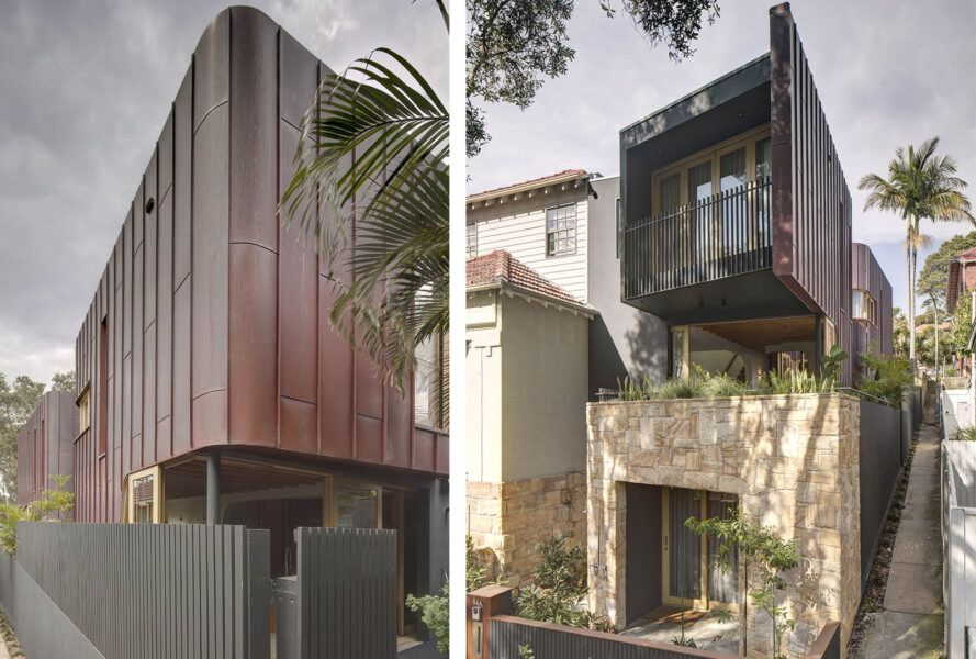 To the left, the exterior cladding of the home. To the right, a two-level home with a balcony and windows.