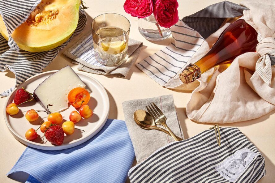 picnic spread with striped linen towels