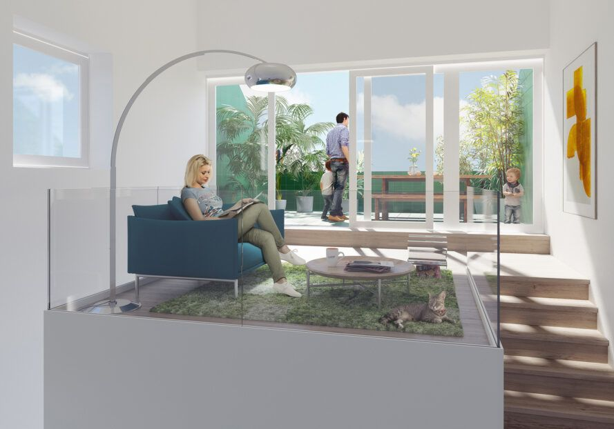 rendering of person sitting on sofa in a loft