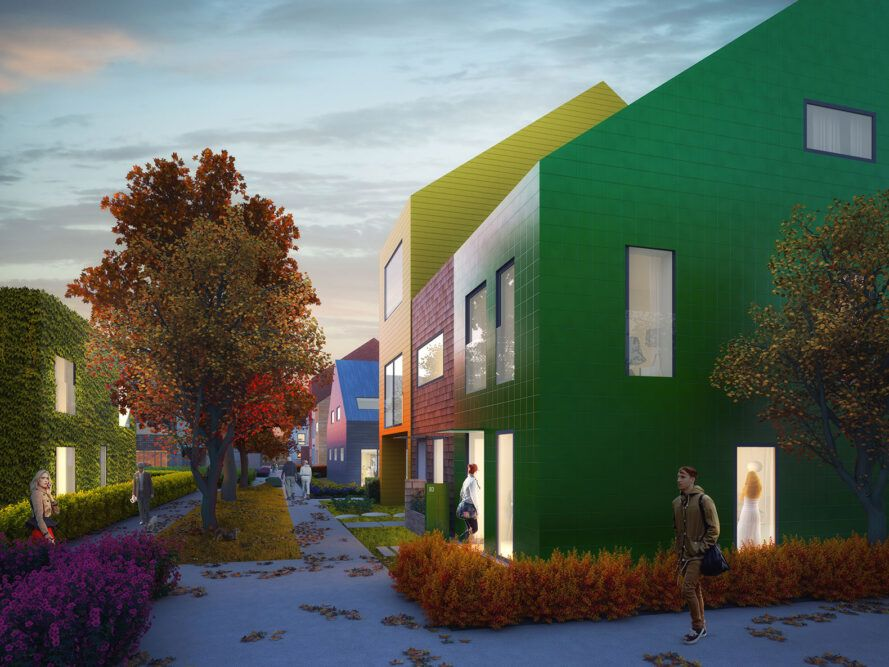 rendering of brightly colored gabled homes