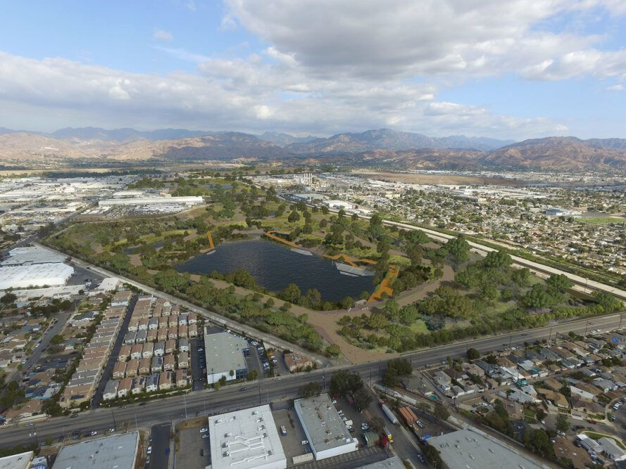 aerial rendering of greenery around a river in Los Angeles