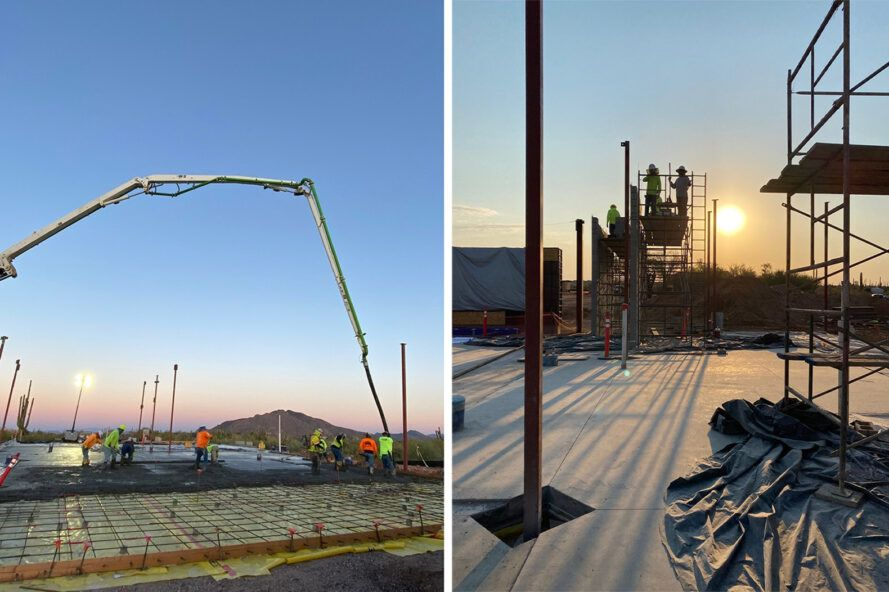 To the left, a crane on a construction site. To the right, a construction site cast in shadows at dusk.