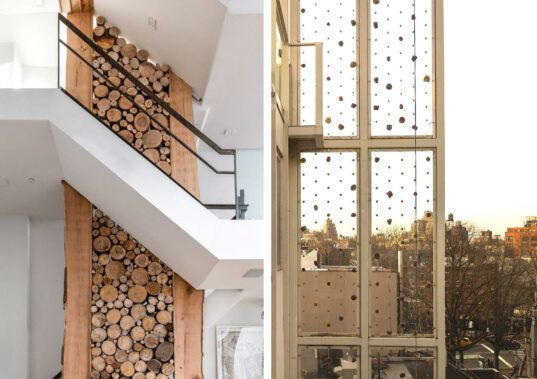 Explore Minetta Lane, a green townhouse with a climbing wall