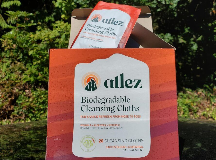 A red box of Allez wipes.