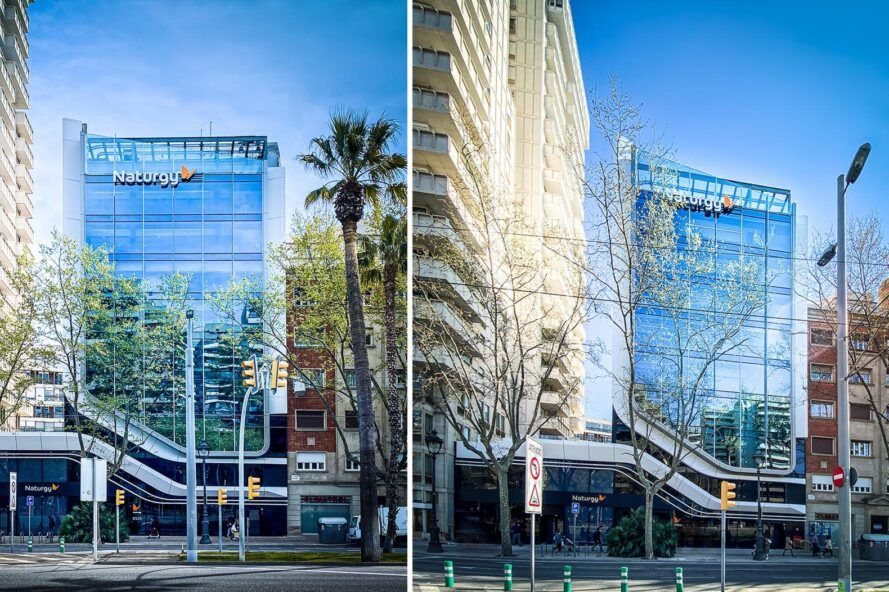 Various angles of the glass office tower.