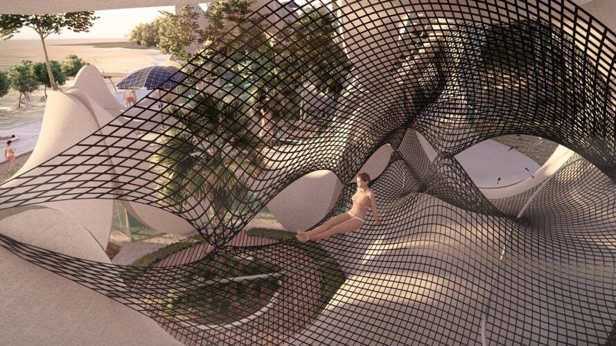 Hapa nets strewn about with a person lounging inside the structure