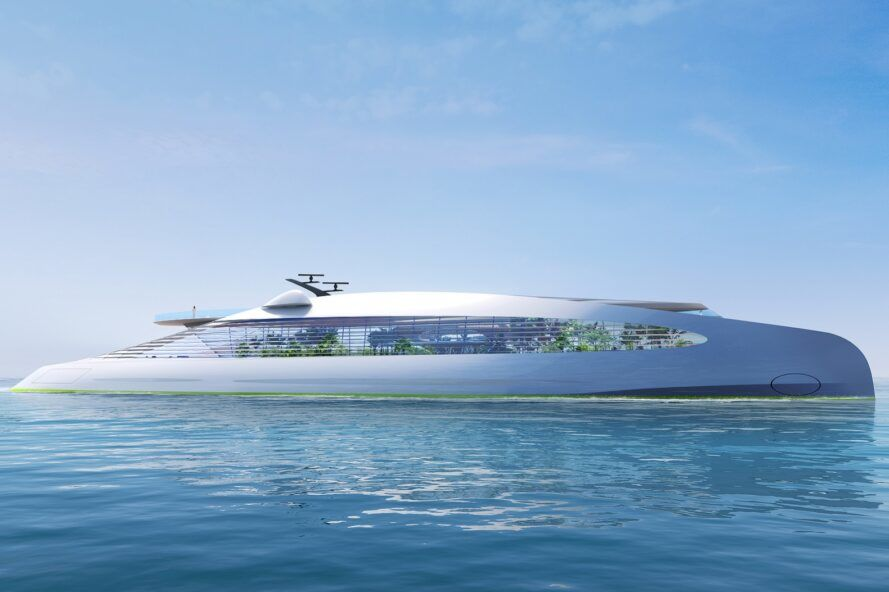 The side of a super-yacht on the ocean.