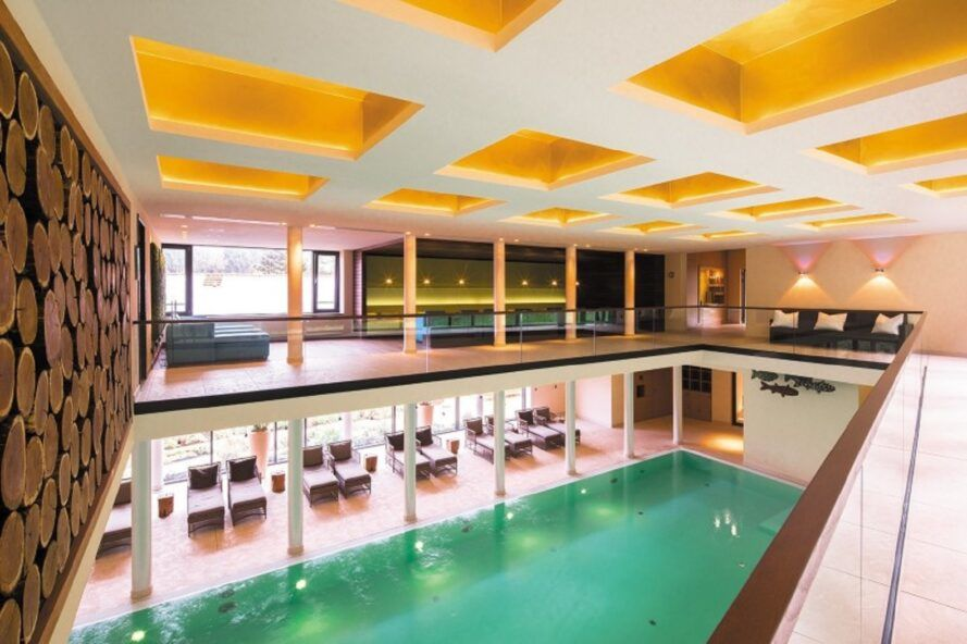 A two-level pool area.