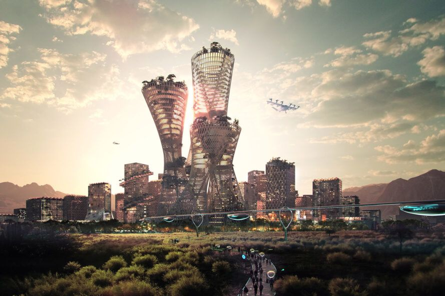 A rendering of a futuristic city skyline.