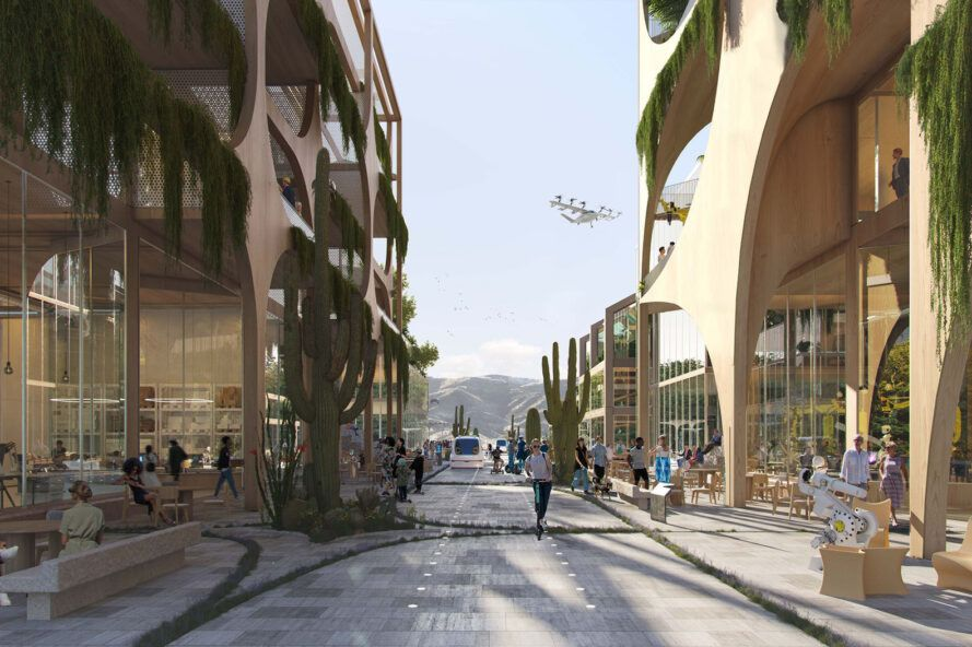 A street rendering with plant covered buildings and pedestrians walking.