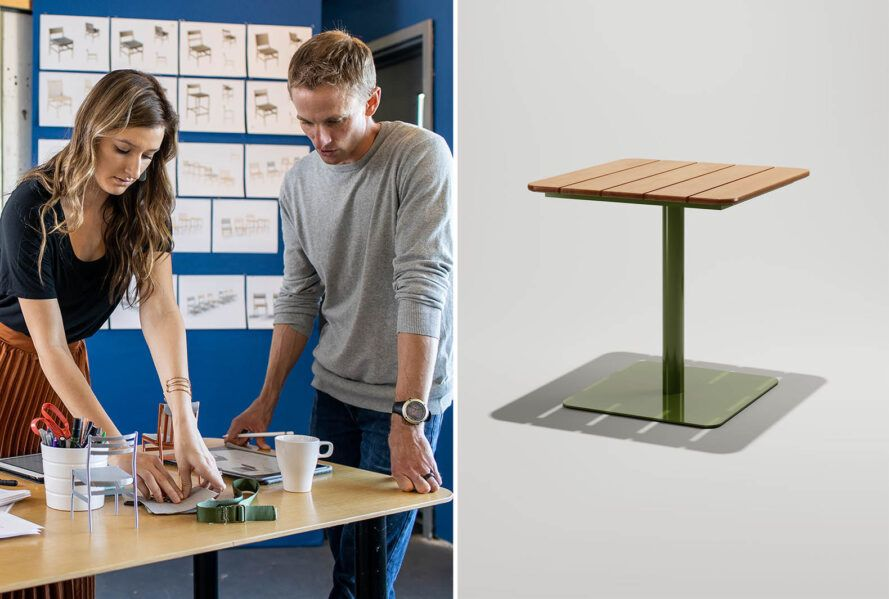 To the left, two people standing at a table. To the right, a square patio table.