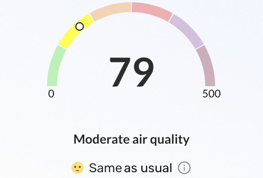 """A screenshot from an app showing an air quality of 79, with text describing it as """"moderate air quality."""""""