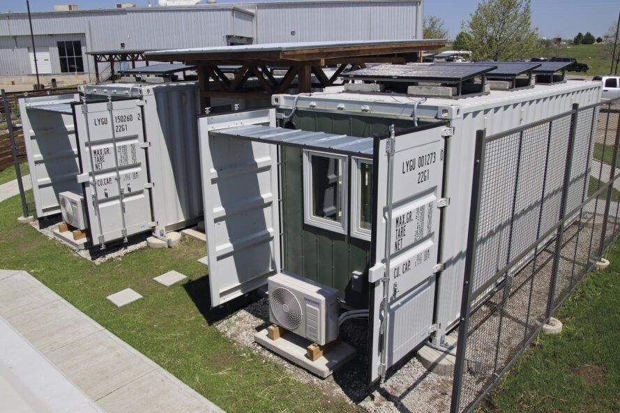 Several shipping container homes.