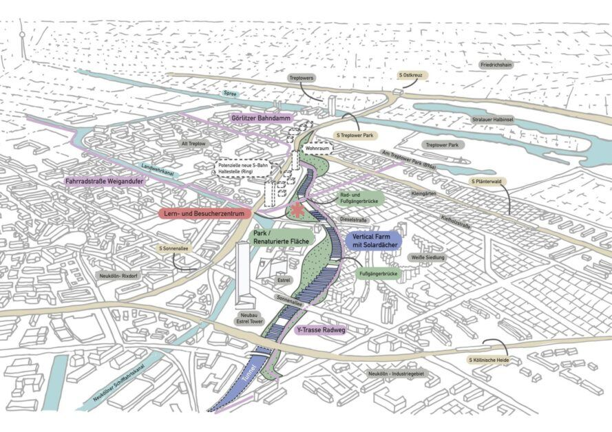A bird's-eye view plan showing how Morgenfarm fits into the city.