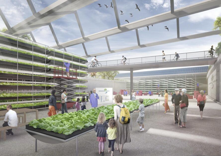 A rendering of people walking around an urban farm with vertical gardens.