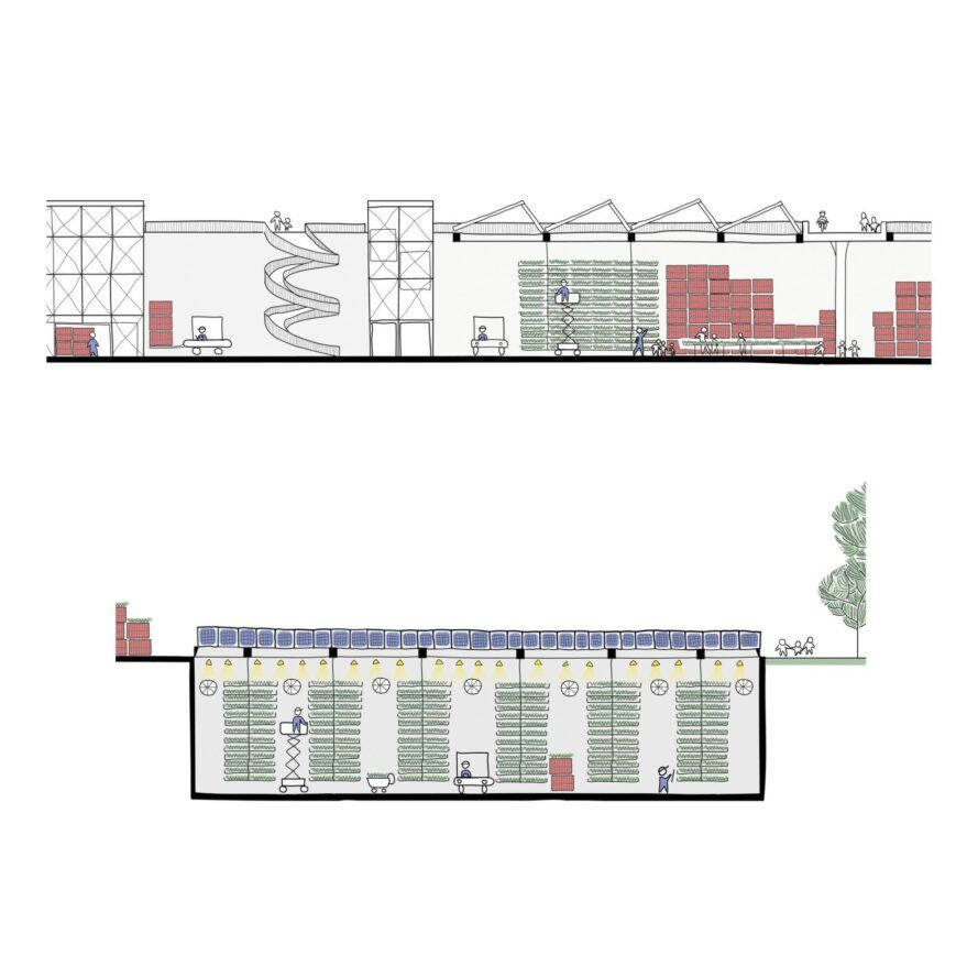 A plan showing the main floor and lower level of Morgenfarm.