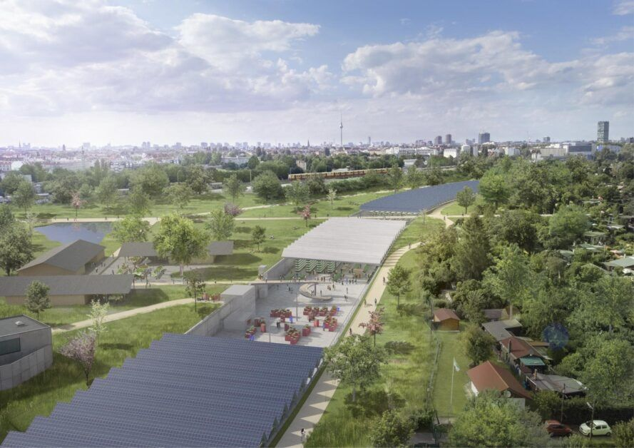 A bird's-eye view of a highway being repurposed as an urban farm.