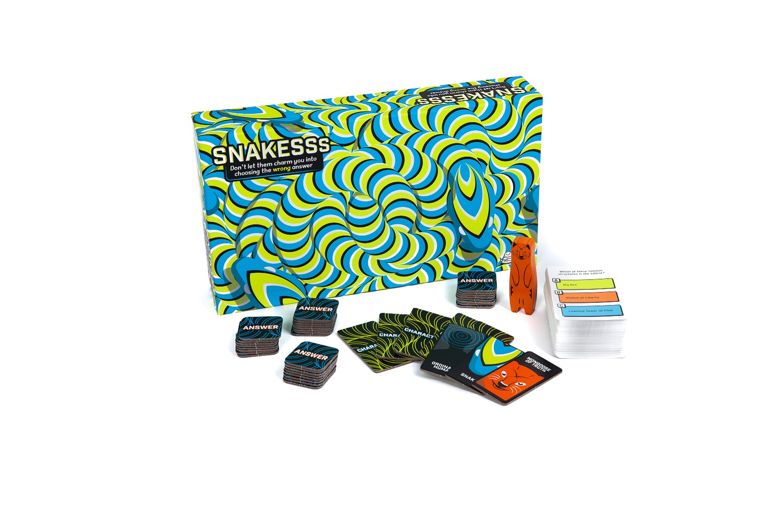 A patterned blue and green game box with cards and game pieces set out in front of it.