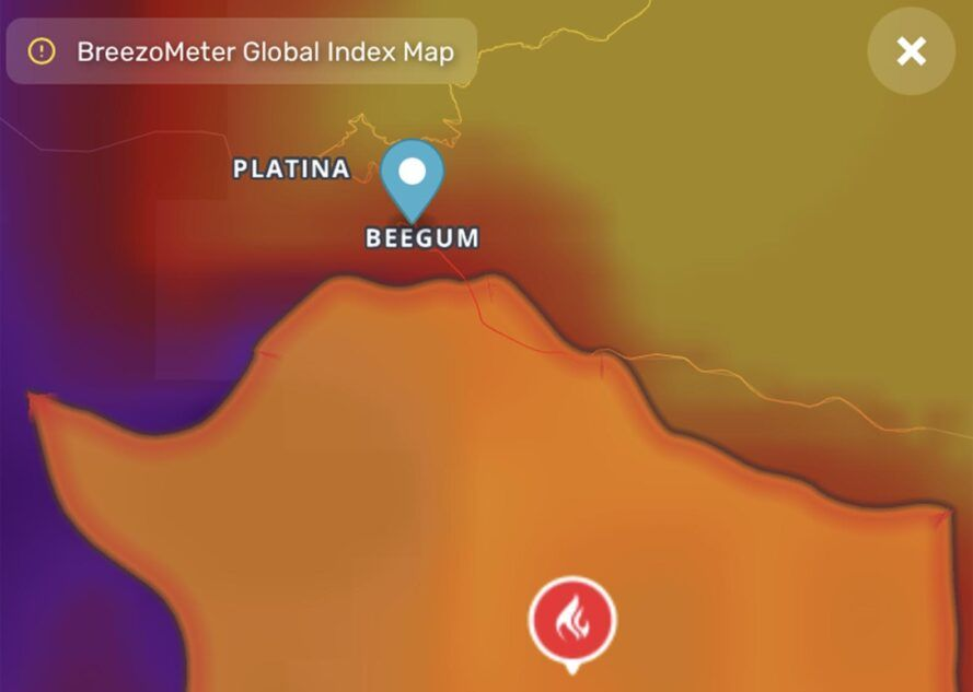 A screenshot from the BreezoMeter Global Index Map, showing air quality and fire report information for the area around Platina and Beegum.