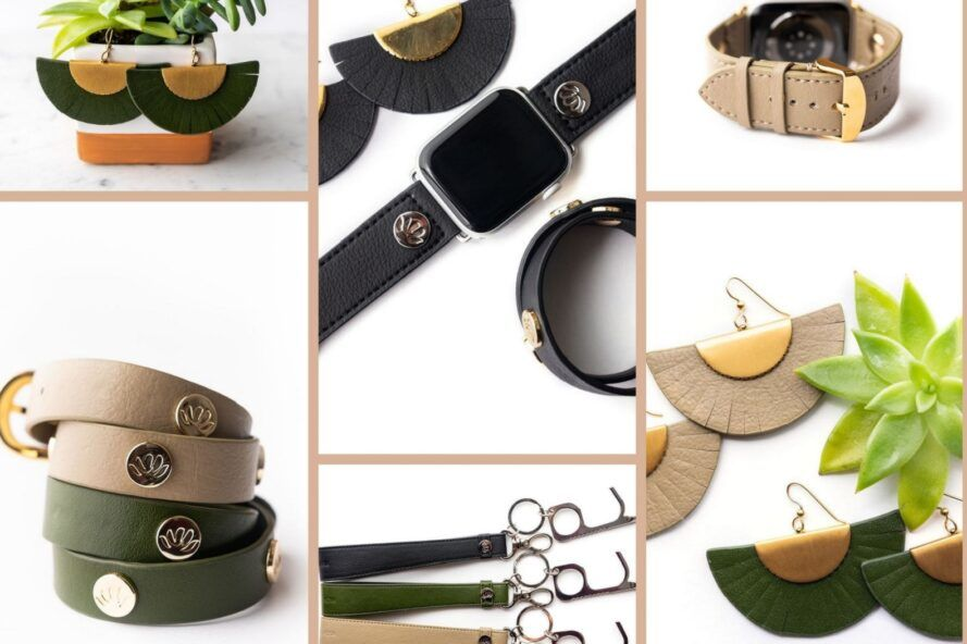 A collage of various leather accessories.