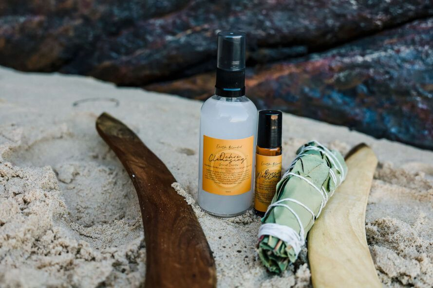 A spread of natural skincare products.