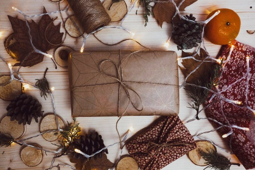 Package wrapped in parchment