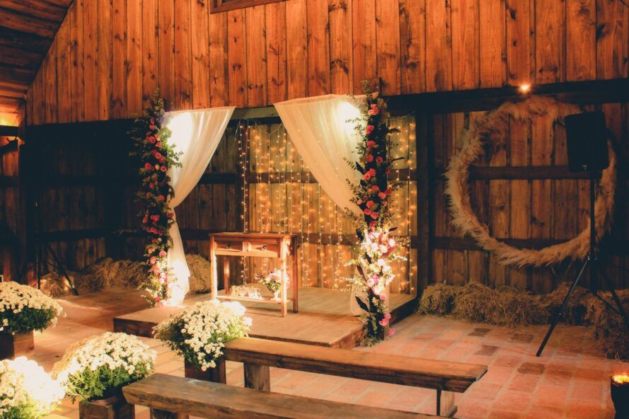 Decorated altar in lights and greenery