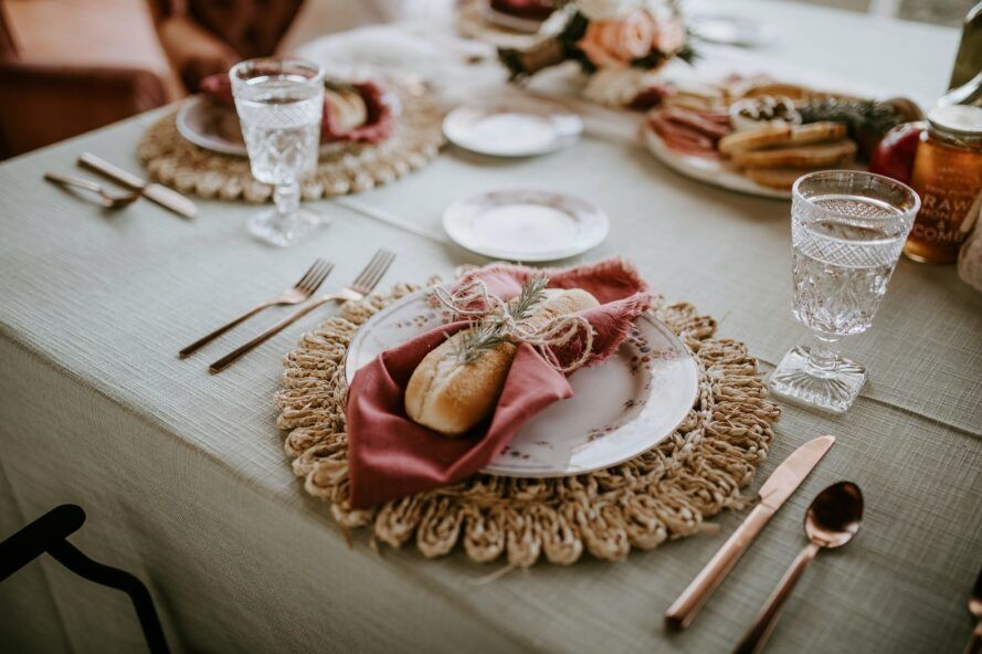 Table with a decorated napkin