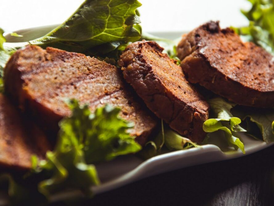 A plate of seitan loaf.