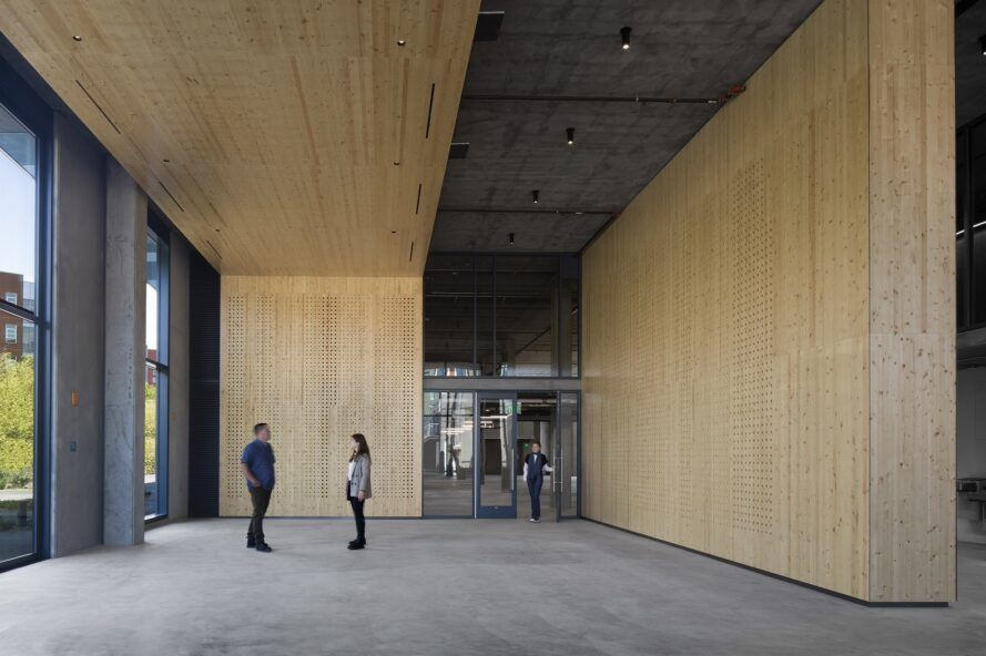 Interior with floor-to-ceiling wooden walls