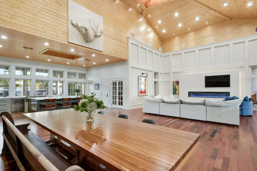 A kitchen/dining area with wood accents.