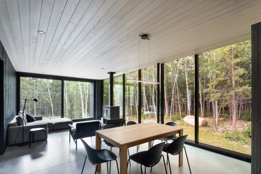 Interior of a room with forest outside