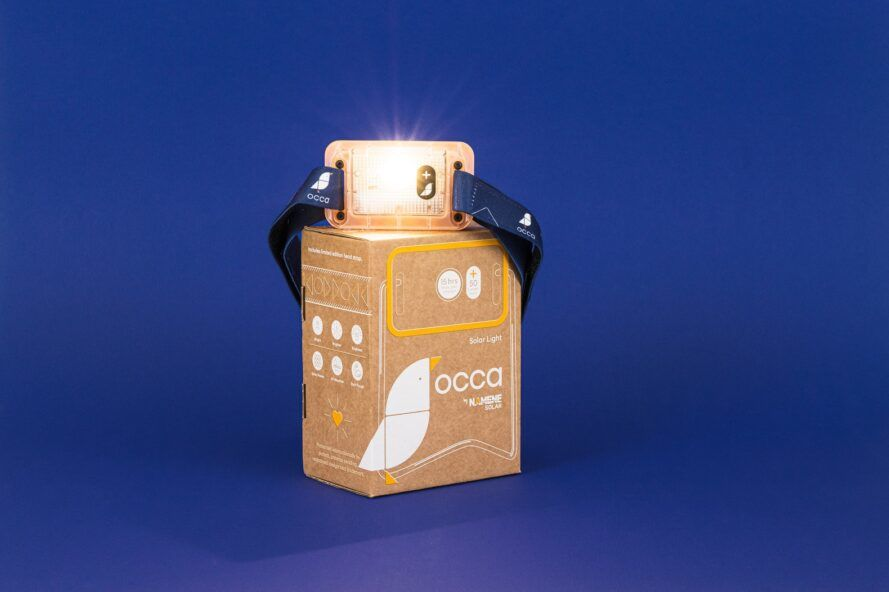 Lamp displayed on top of packaging box