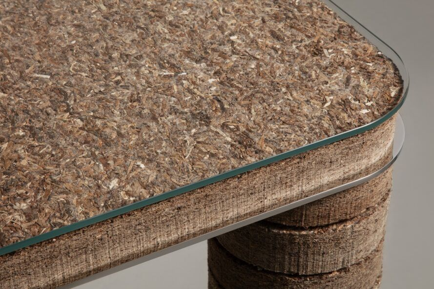 Close up of table made of plant-based material
