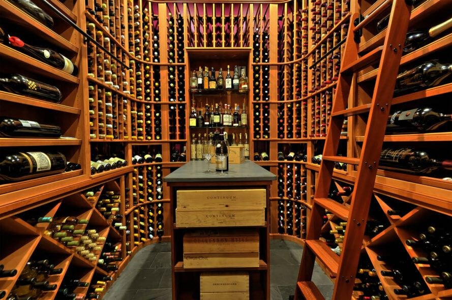 A wine cellar made of wood.