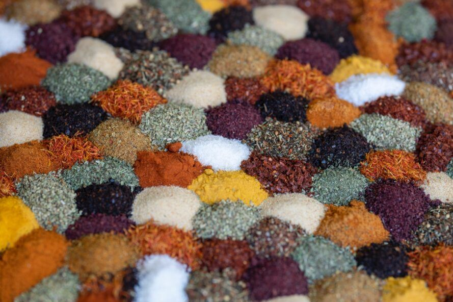 Colorful piles of spices.