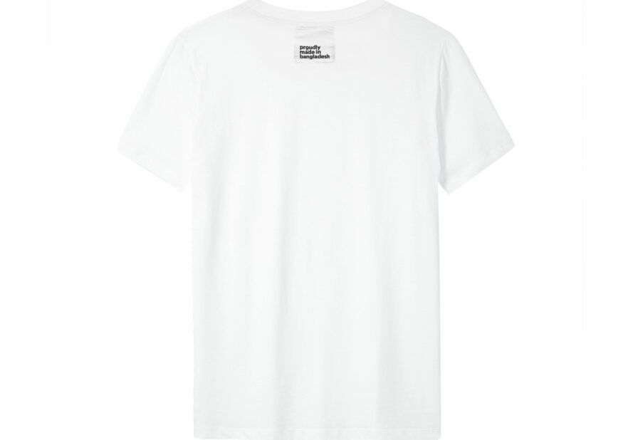 """A white t-shirt with a label reading """"proudly made in bangladesh."""""""