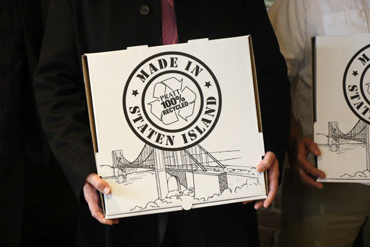 Pizza boxes recycled from Staten Island trash let you eat out of the garbage