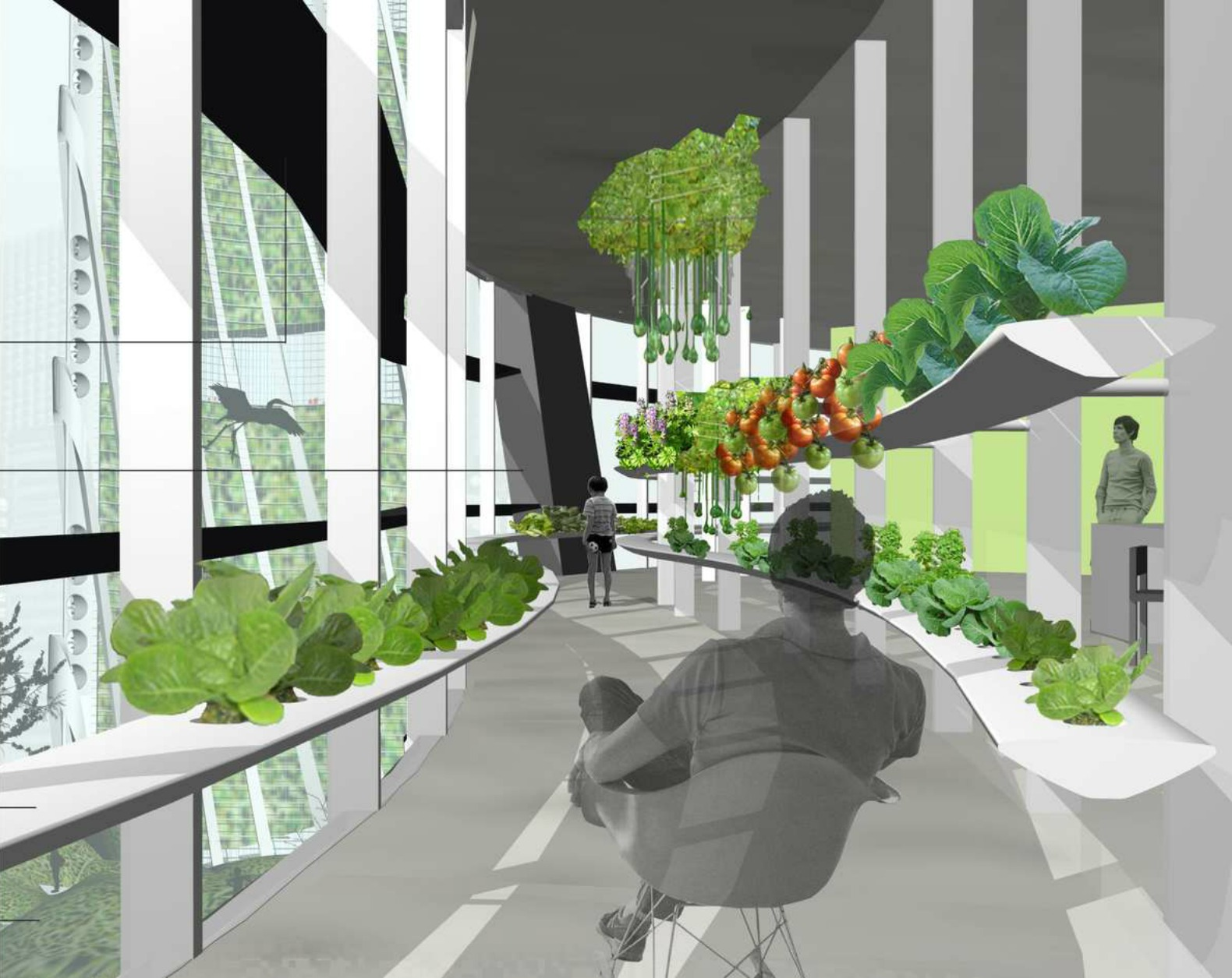 URBAN PLANT tower would allow tenants to grow food year-round in a flourishing winter garden