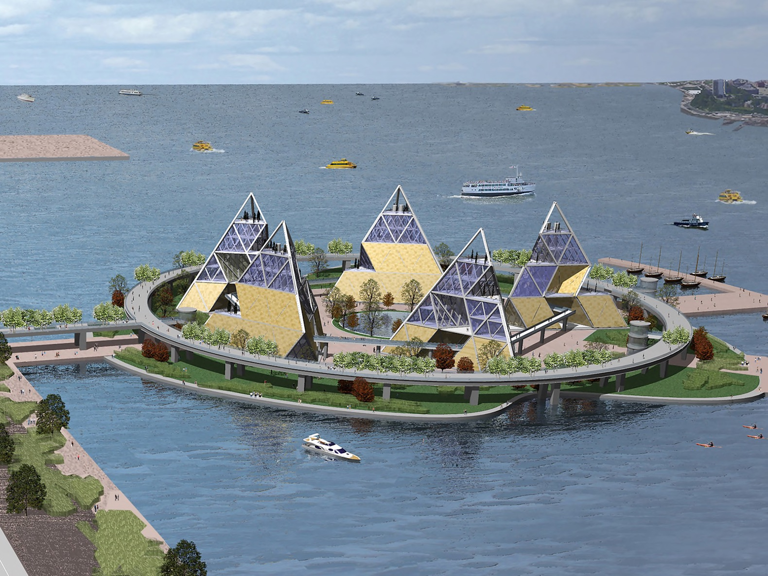 Proposed floating island with pyramids connects the High Line to the Hudson River