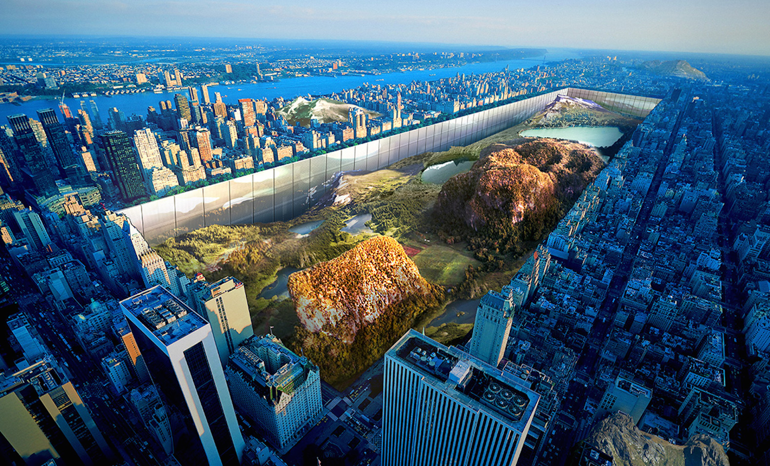 Crazy proposal exposes Central Park's underground mountains and surrounds it with 1,000-foot glass walls