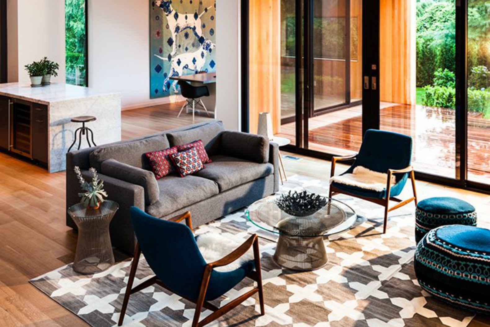 Playful retro-inspired makeover injects personality into a 1980s East Hampton home