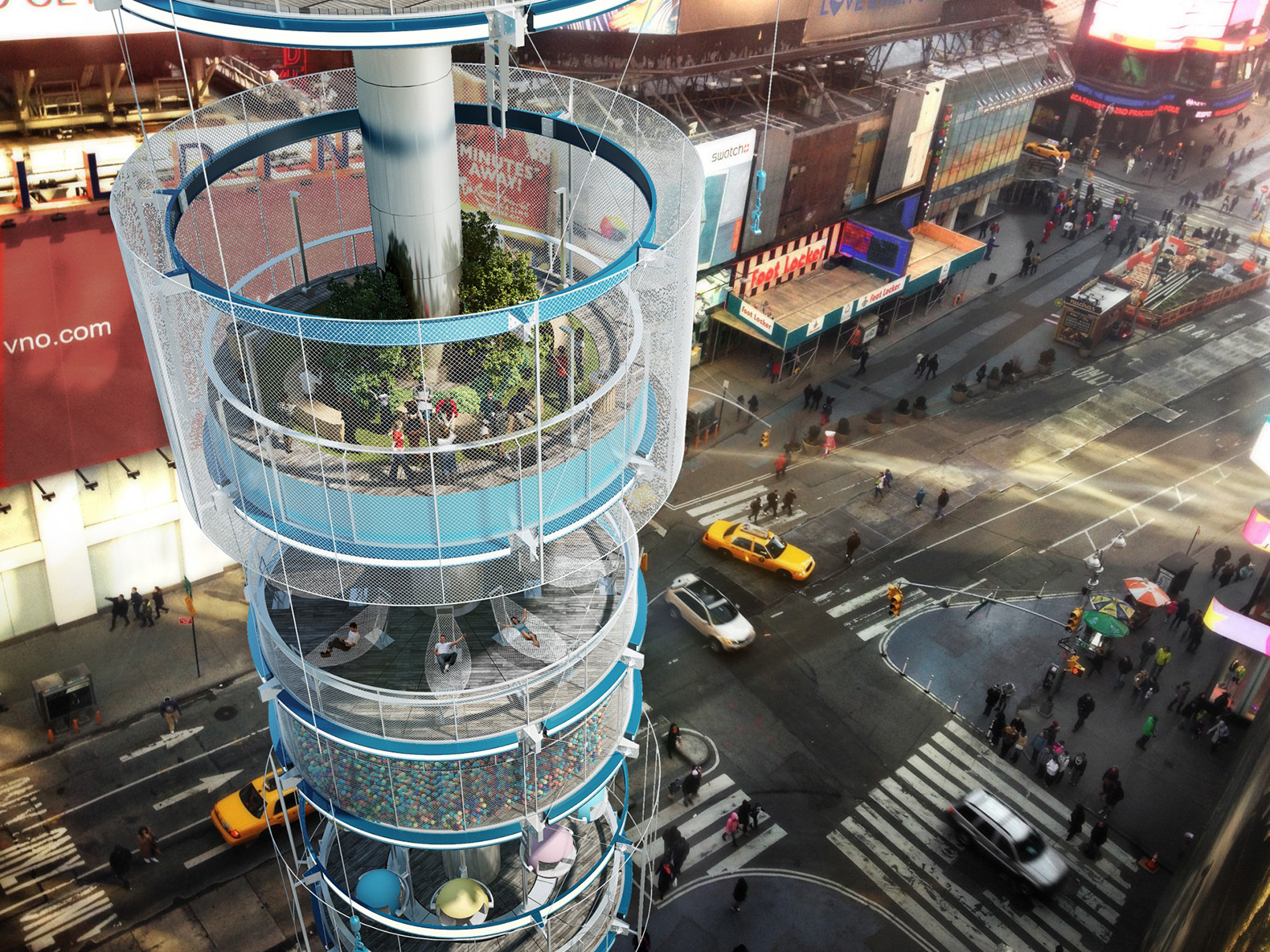 Could a vertical park with a giant ball pit make Times Square more livable?