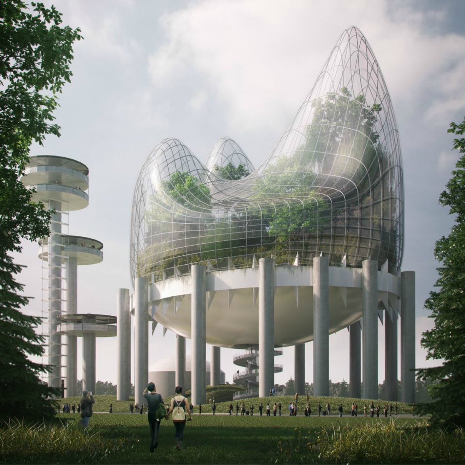 World's Fair Pavilion reimagined as a giant greenhouse blob atop Flushing Meadows Park
