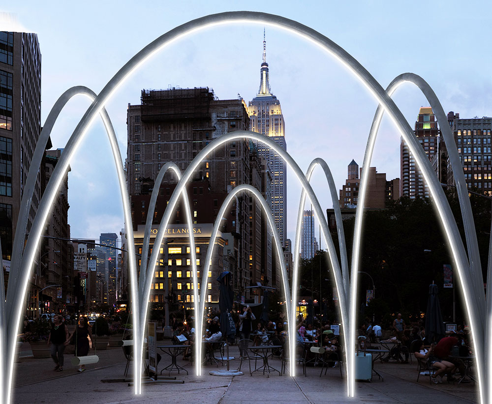 Hammocks suspended from giant arches invite you to experience the Flatiron District from a new angle